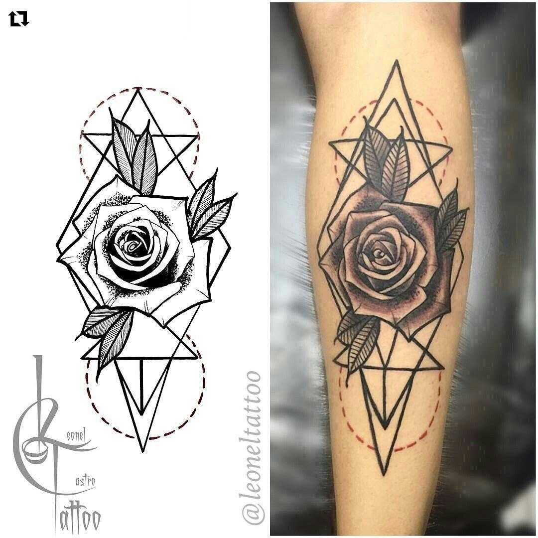 1080x1080 Black And Grey Geometric Rose Tattoo Stuff To Draw