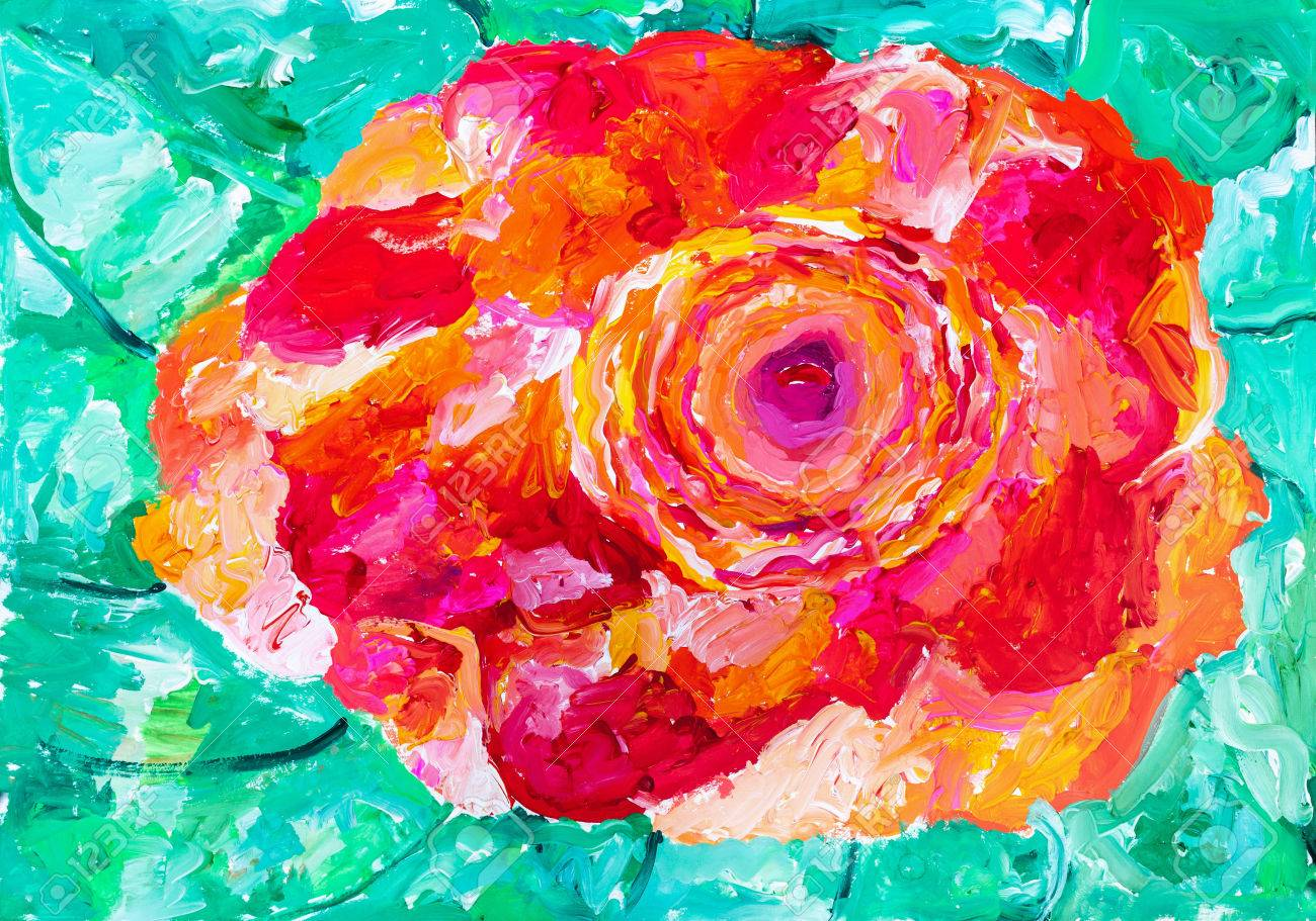 1300x911 Children's Drawing. Red Rose On A Background Of Green Leaves