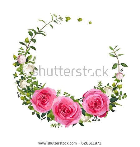 450x470 Flower Circle Round Wreath Coronet Flowers Pink Rose Hypericum