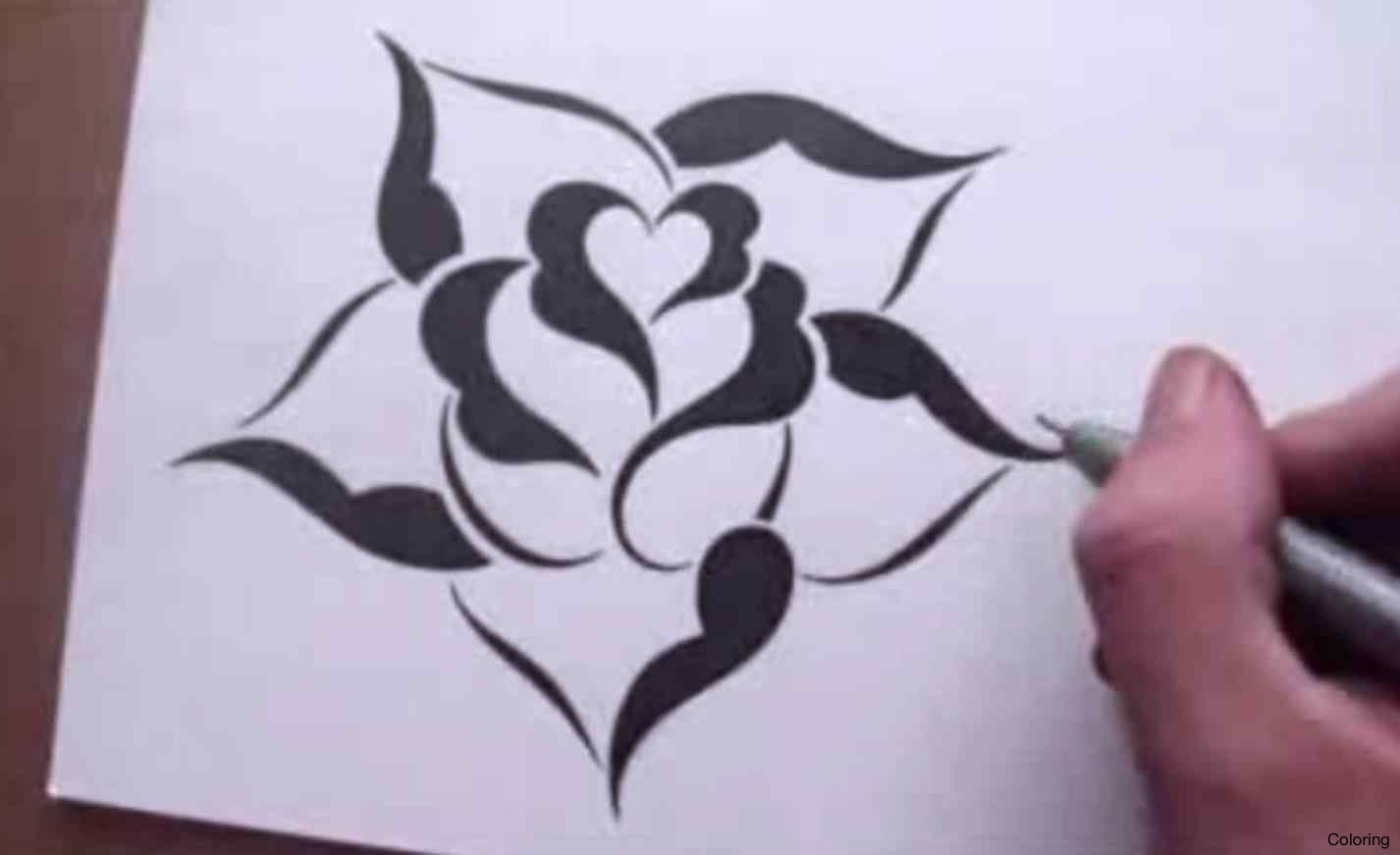 1426x871 Easy To Draw Roses Coloring Have Fun Drawing From These 50