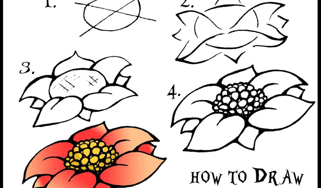 1024x600 Easy Flower Drawings Step By Step Rose Flower Drawing Step Step