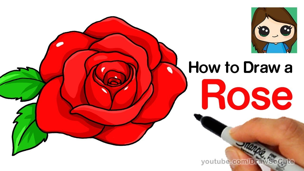 1280x720 How To Draw A Rose Step By Step Easy