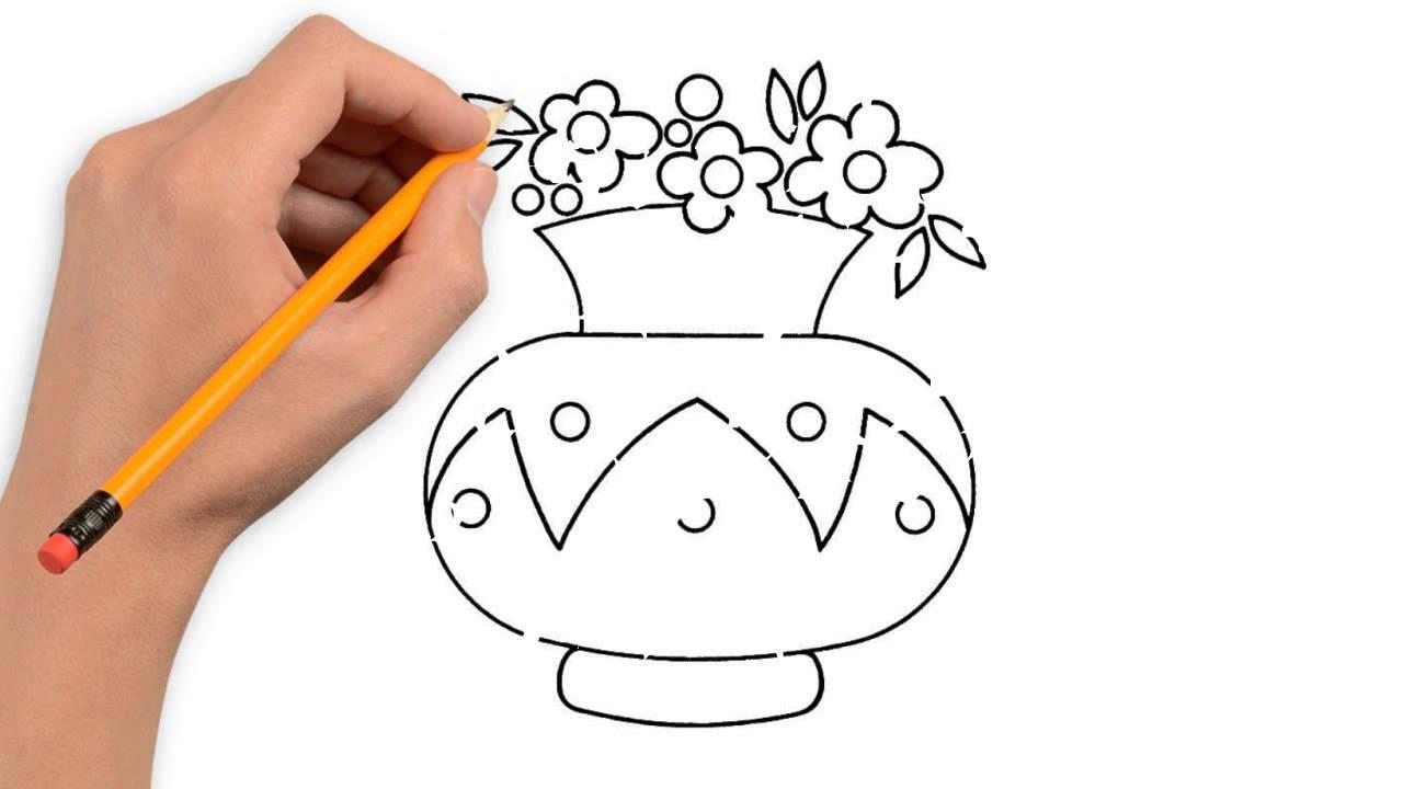 1280x720 Rose Flower Pot Drawing Sketch Ka Photo Flower Nature Pencil