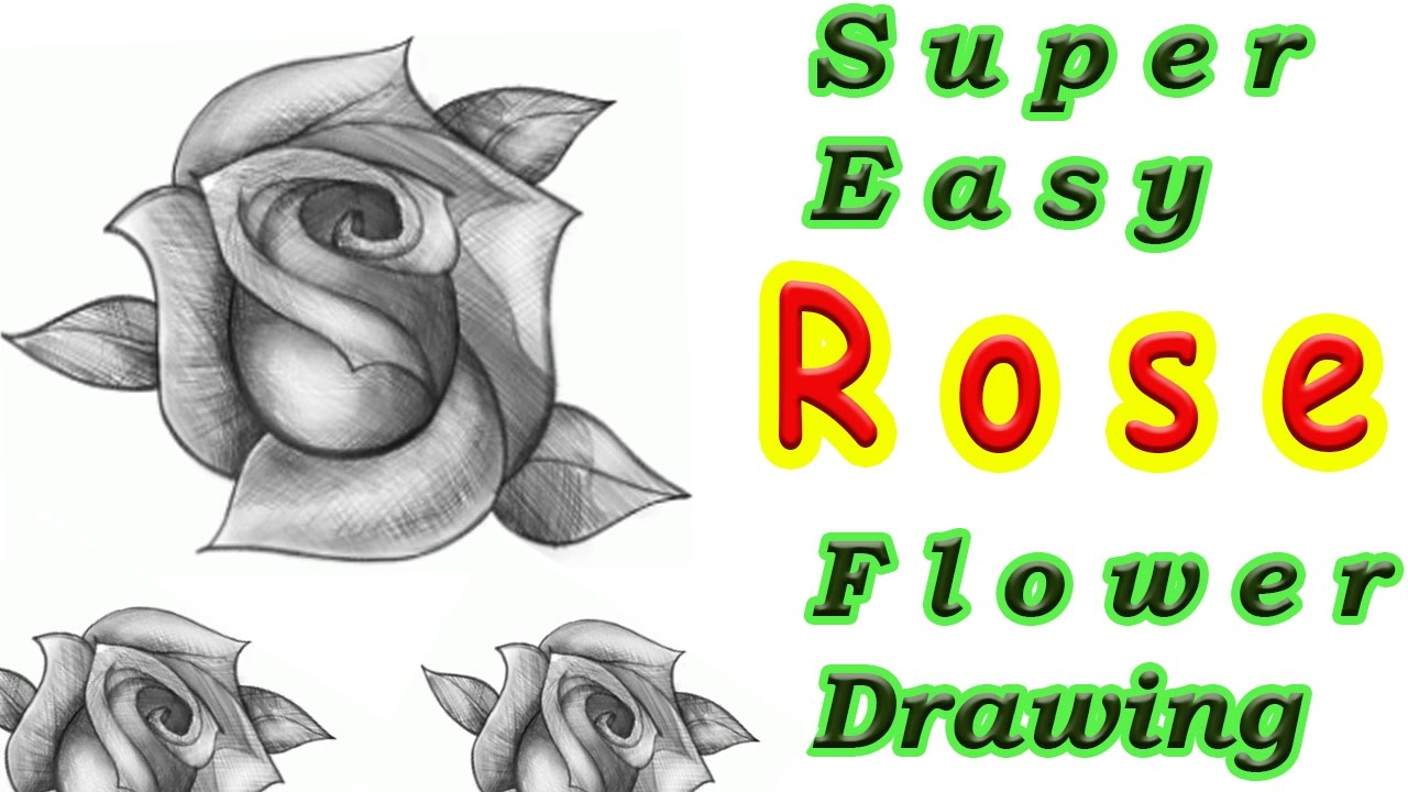 1280x720 Super Easy Tutorial How To Draw A Rose Flower Step By Step