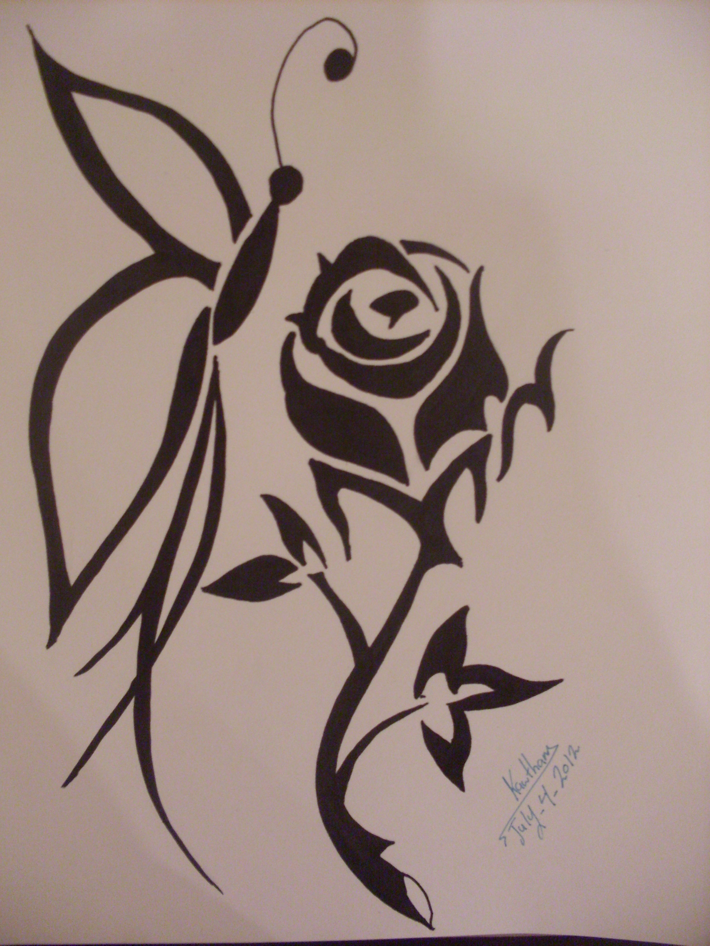 2304x3072 Pencil Drawings Of Flowers And Hearts Tribal Butterfly And Rose