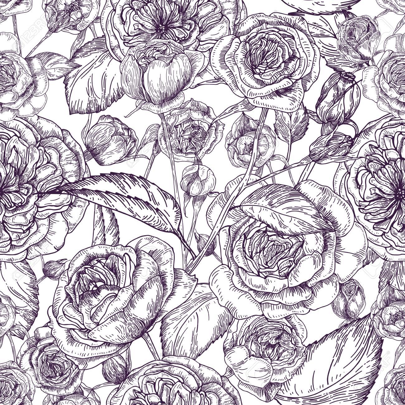 1300x1300 Beautiful Detailed Pion Shaped Rose Seamless Pattern. Hand Drawn