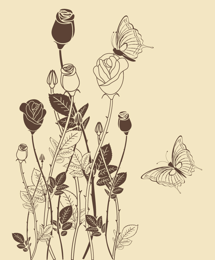 751x907 Line Drawing Rose Pattern Free Vector Graphic Download