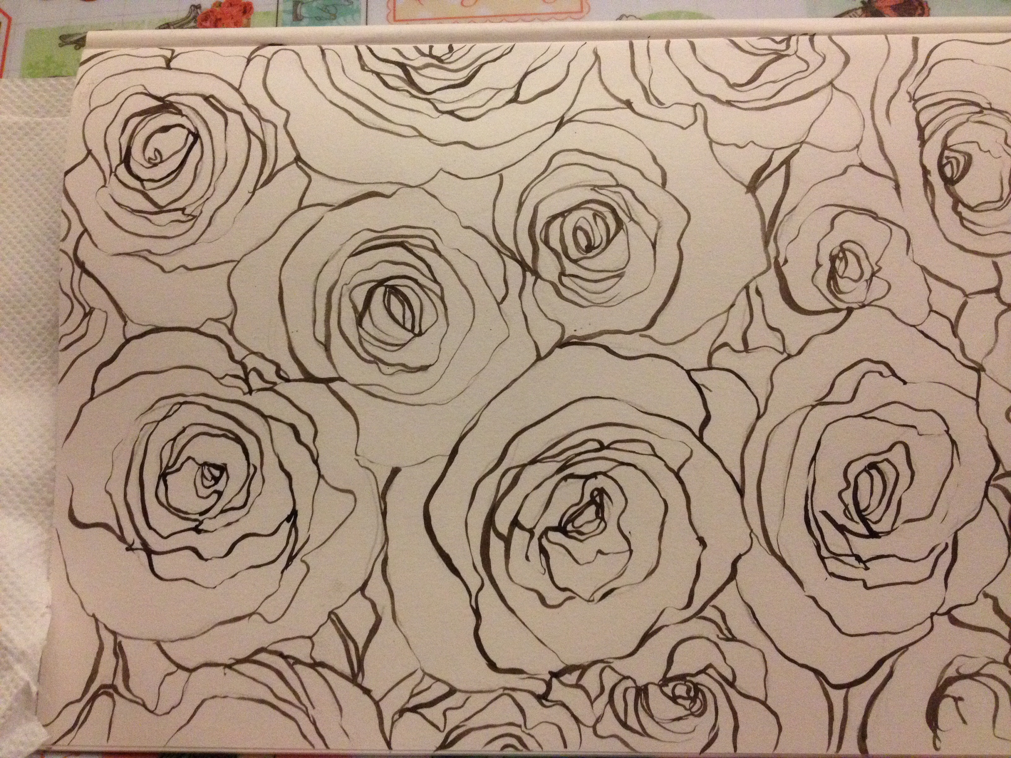 3264x2448 Line Drawing Of Rose Pattern. Preparation For Wall Paper Design
