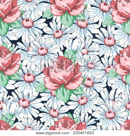 450x470 Rose Chamomile Flower Hand Drawing Vector Amp Photo Bigstock