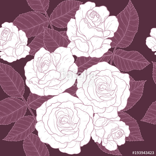 500x500 Rose Pattern By Hand Drawing.red Rose High Detail For Wallpaper