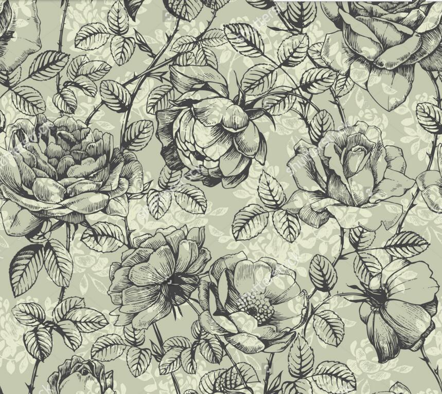 859x767 Rose Wallpaper,hand Drawn Roses,retro Pattern Wall Painting