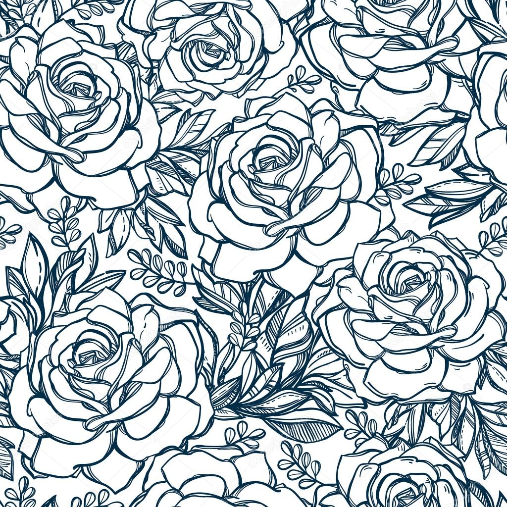 1024x1024 Seamless Pattern Background Of Rose Flowers. Stock Vector