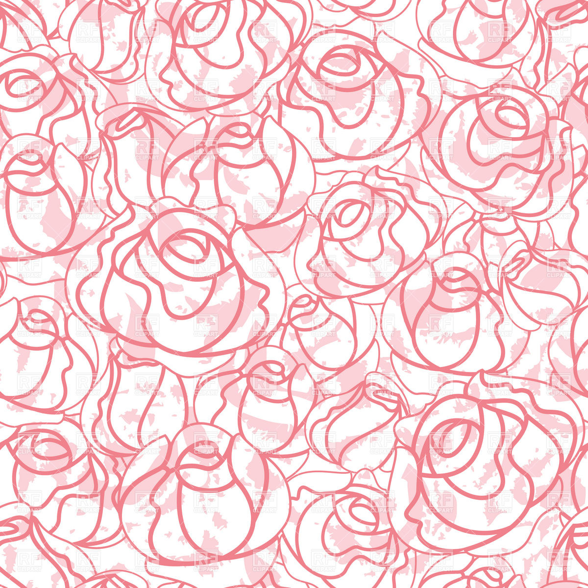 1200x1200 Seamless Roses Bud Outline Pattern Royalty Free Vector Clip Art