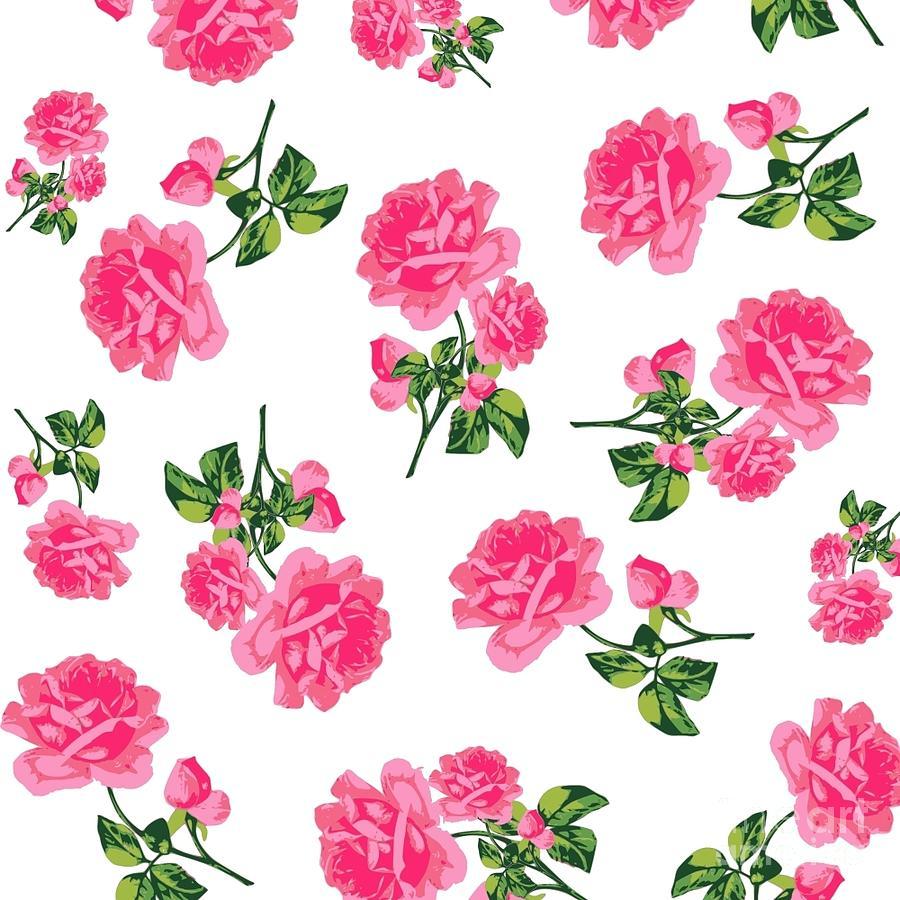 900x900 Vintage Pink Rose Flower Pattern Drawing By Li
