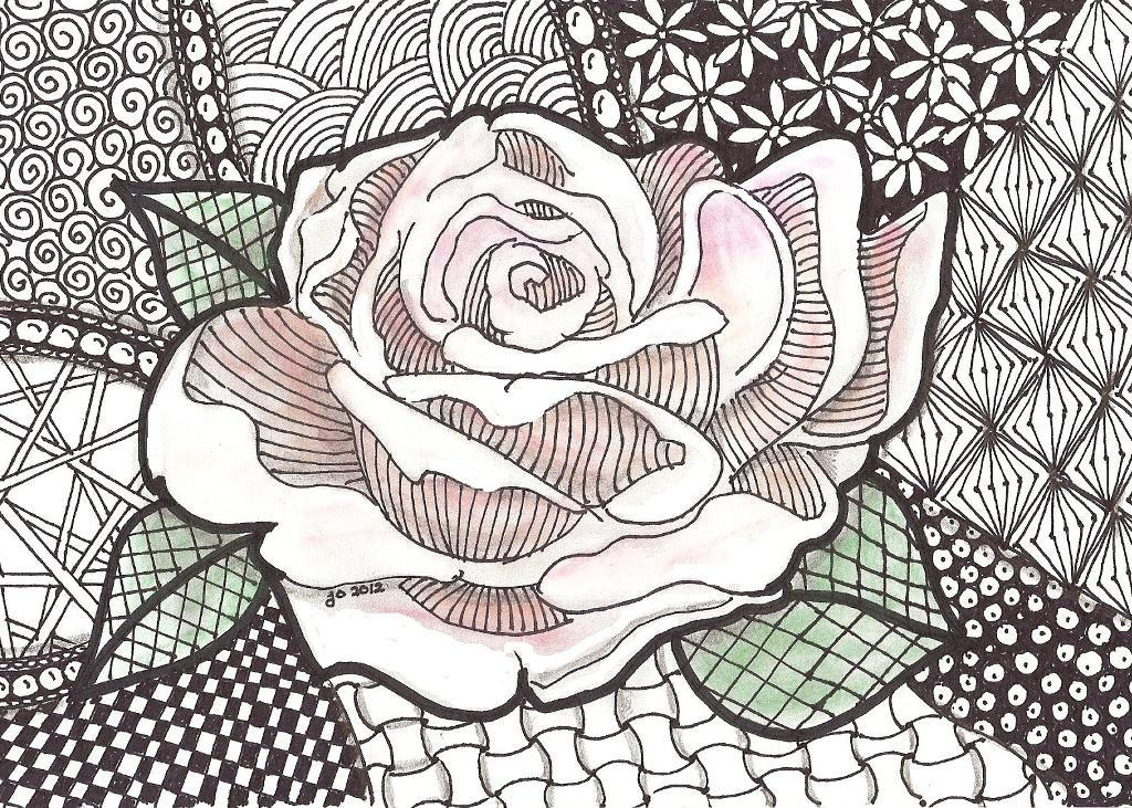 1024x731 Zentangle Rose Zentangle Designs By Jo, Michigan Project