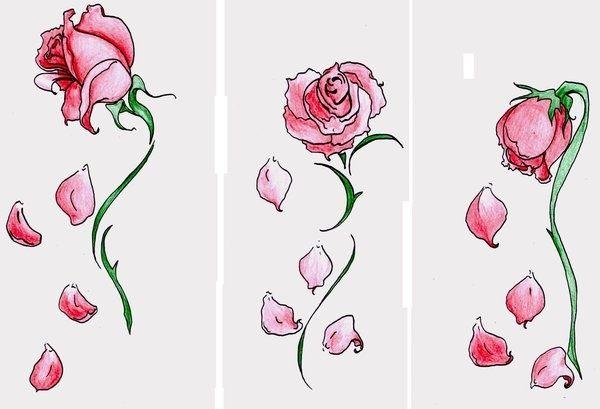 600x409 Falling Rose Petals Tattoos Rose Petals And Roses