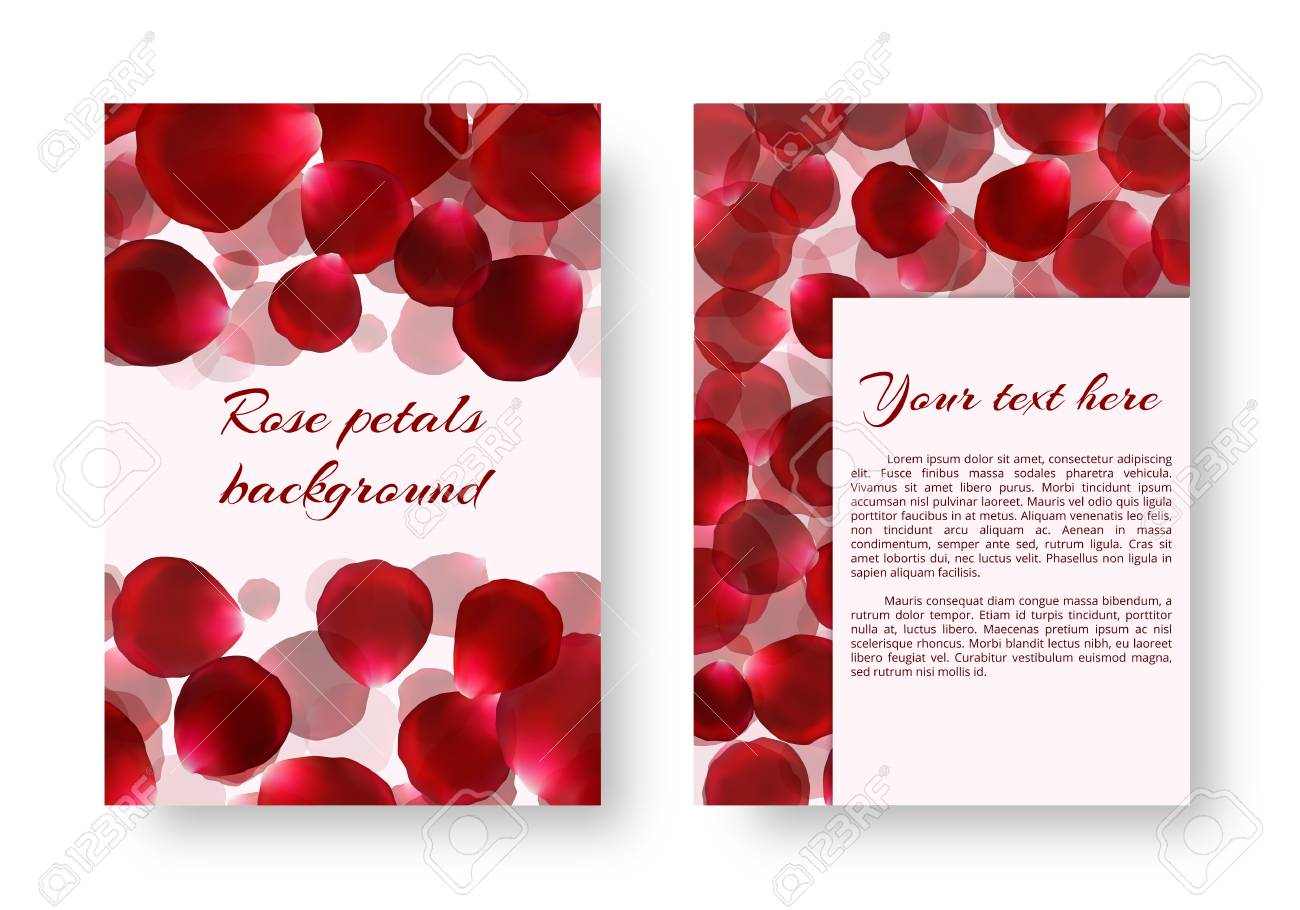 1300x910 Background For Drawing Greeting Cards With Rose Petals. Vector