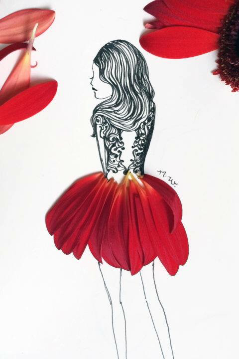 480x720 Drawing Of A Girl Wearing A Skirt Made With Red Flower Petals Art