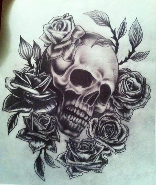 500x595 skull and rose drawing shared by chloeâ ¤ on we heart it