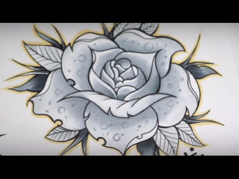 480x360 How To Draw A Rose Tattoo (Speed Drawing)