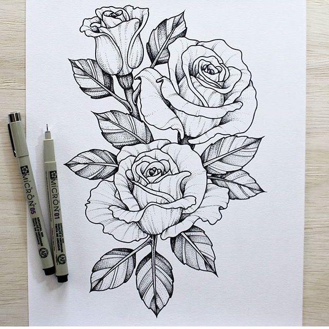 640x640 Rosas . Sketch Tattoo, Tatting And Piercing