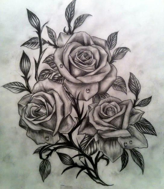 544x626 Grey And Black Three Roses Tattoo Design