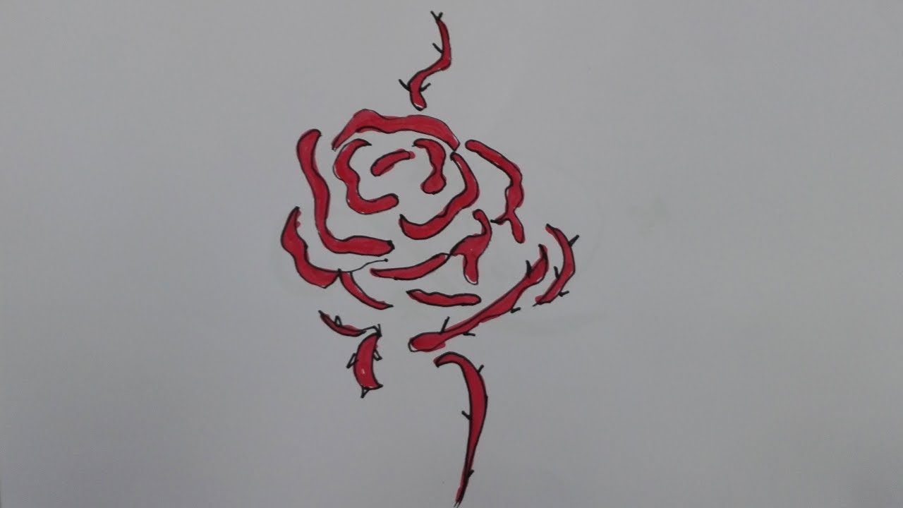 1280x720 How To Draw A Rose Tattoo Traditional Rose Tattoo Drawing Draw