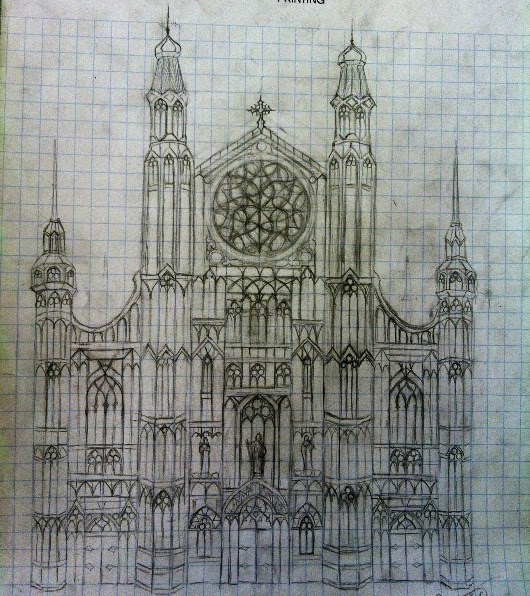 1821x2047 Gothic Cathedral Drawing. This Whole Thing Was Drawn Around