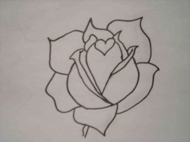 Line Art Heart Outline : Rose with heart drawing at getdrawings free for personal use