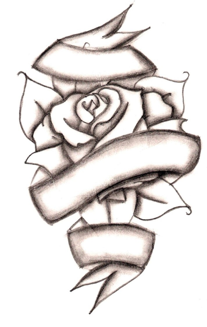 Rose With Ribbon Drawing at GetDrawings.com | Free for personal use ...