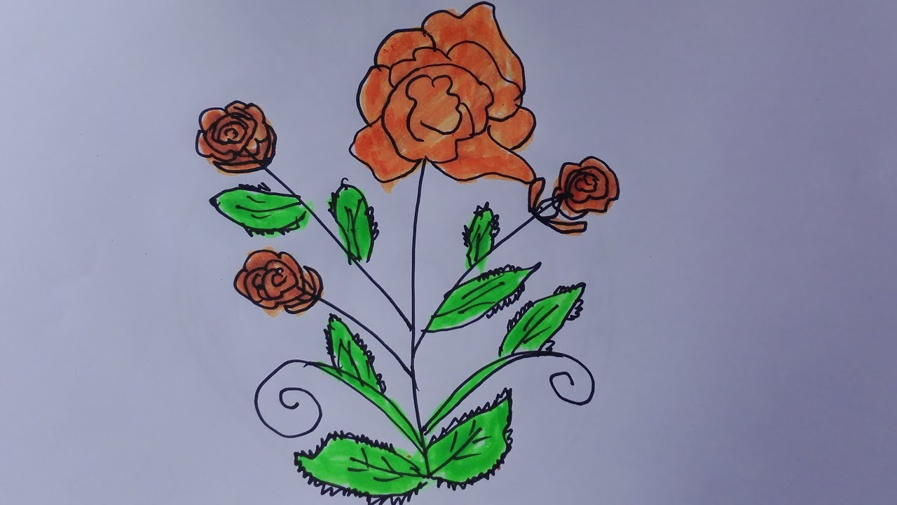 1280x720 How To Draw A Rose Tree Draw A Rose Bush Easy Draw A Rose Bush