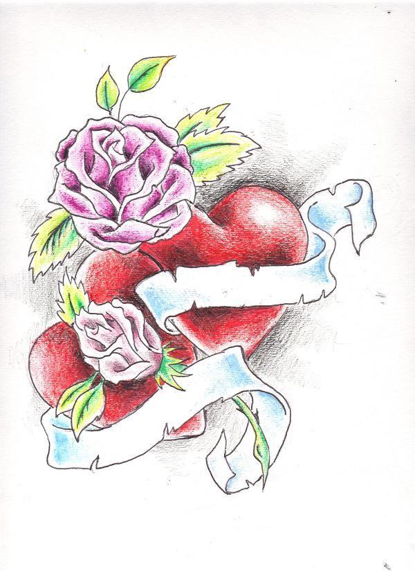 600x825 Drawings Of Roses And Hearts Hearts And Roses By ~crystal Raiyn