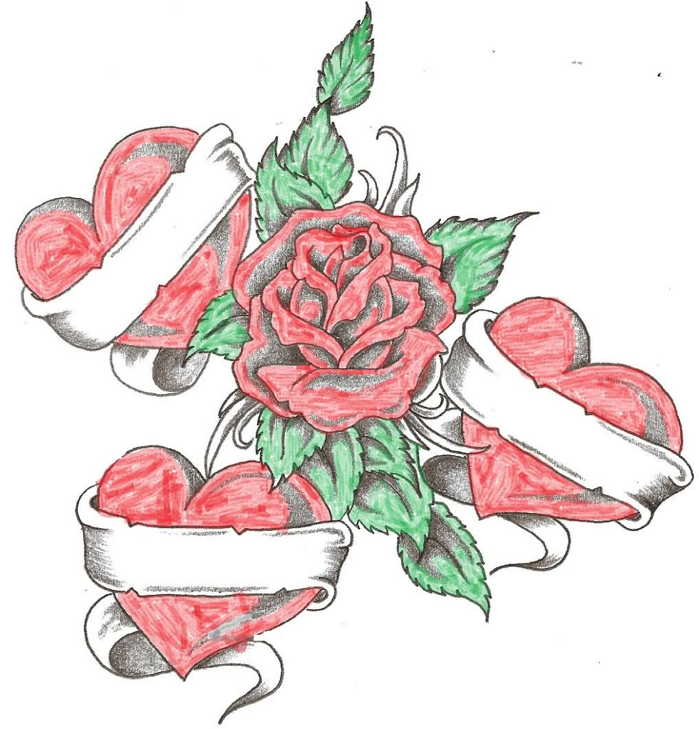 Heart And Rose Love Drawings Roses And Heart...
