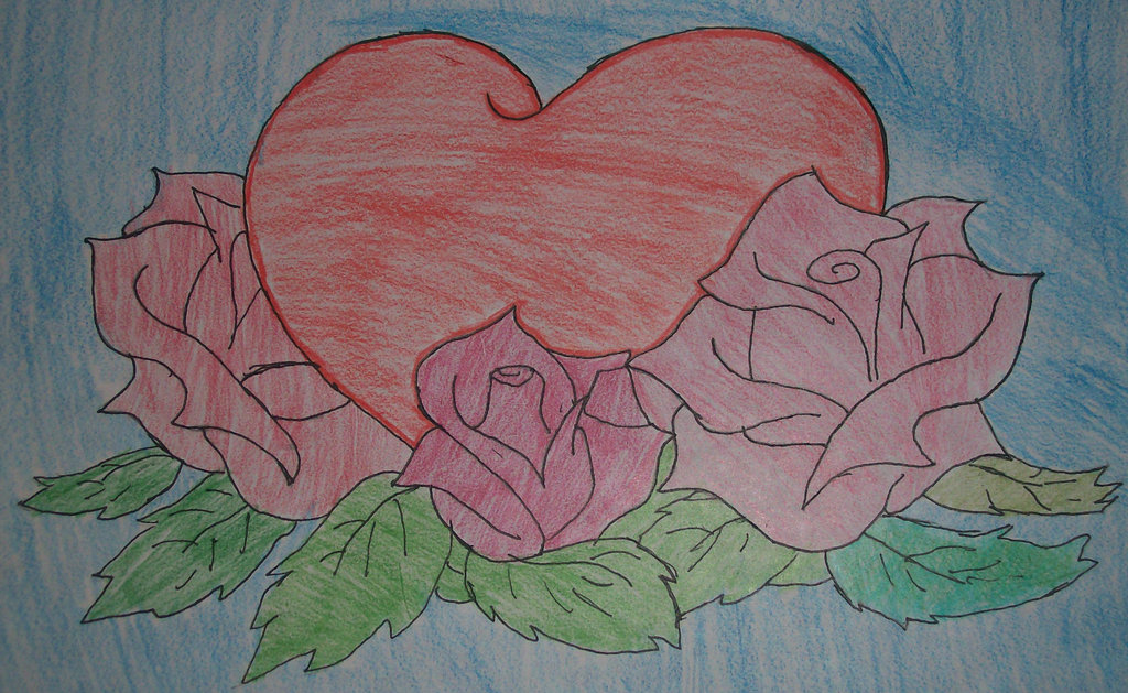 1024x629 Hearts And Roses Drawing By Bluemoon124
