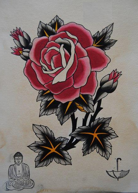 439x616 Japanese Monk And Rose Drawing Tattoo Best Tattoo Ideas Gallery