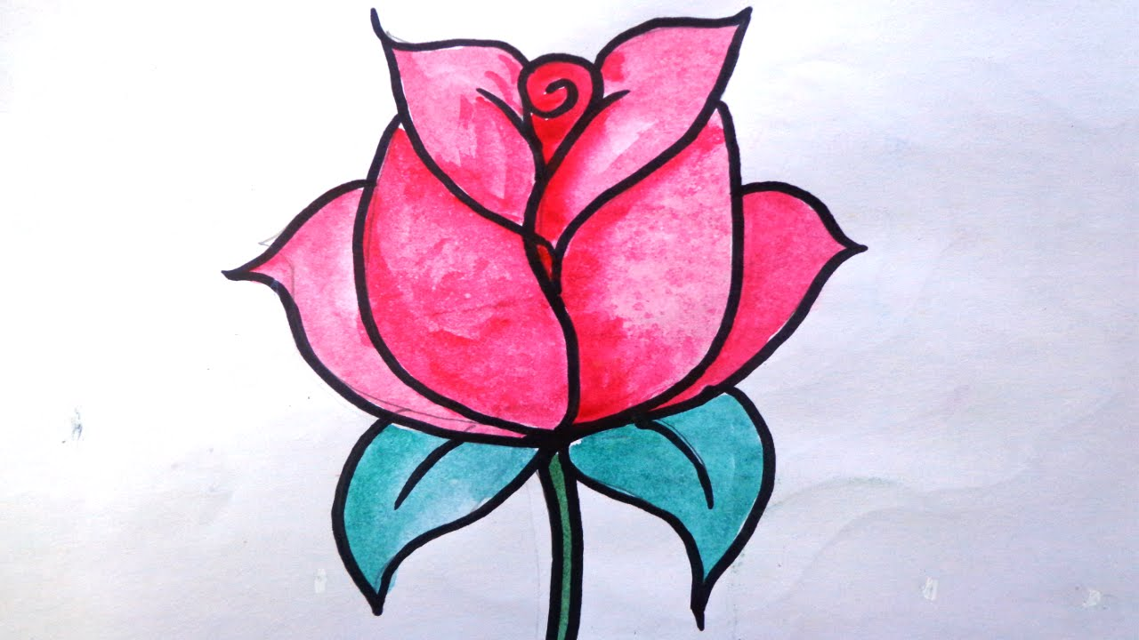 1280x720 How To Draw A Rose For Kids Draw Rose How To Draw Rose