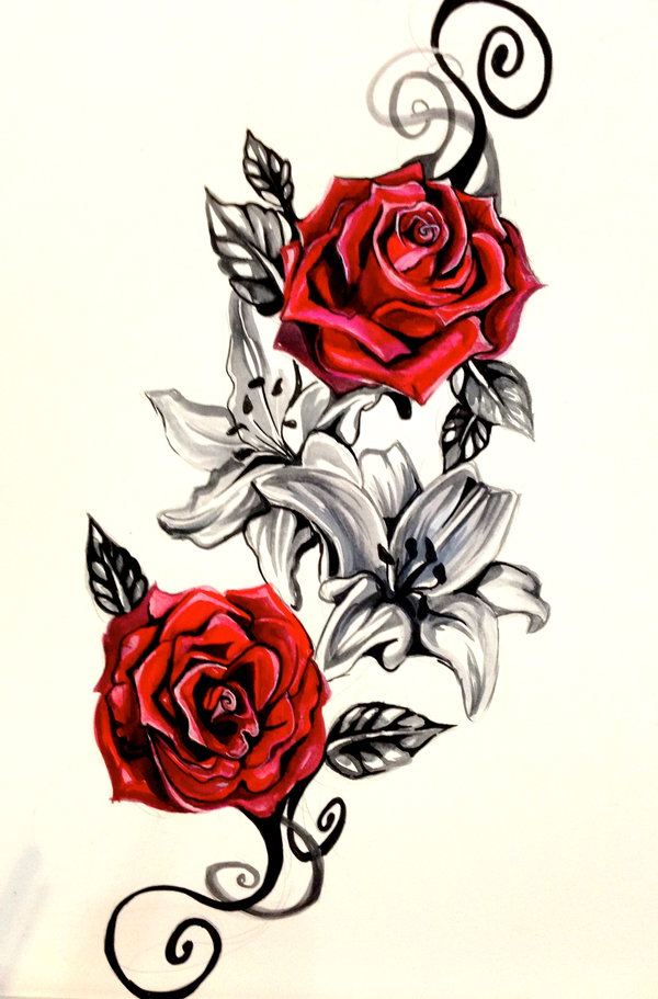 600x911 Lily And Rose Tattoo Design By Lucky978