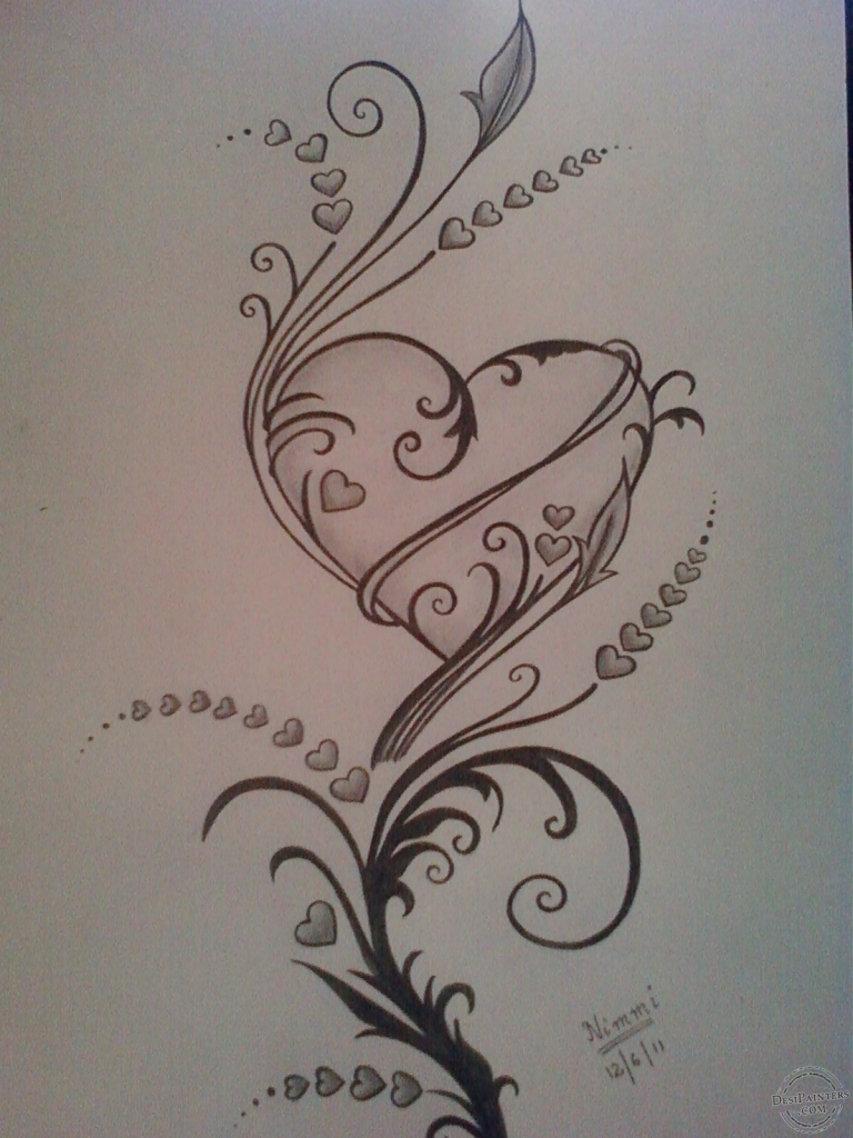 768x1024 Pencil Drawings Of Hearts Drawings Of Roses Hearts Hearts