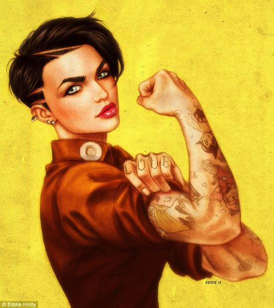 551x619 Carlin Ross On Twitter Ruby Rose As Rosie The Riveter Fuck Yeah