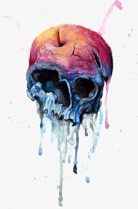 564x852 Creative Skull, Drawing Skull, Rotten Apple, Skeleton Png Image