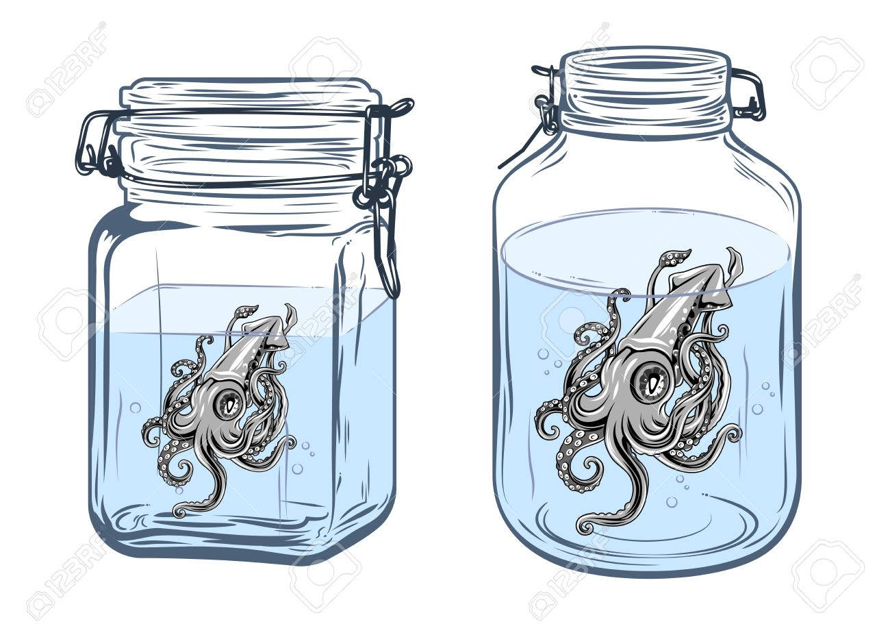 1300x911 Bottles, Round And Square Shapes, With A Squid Inside, Freehand