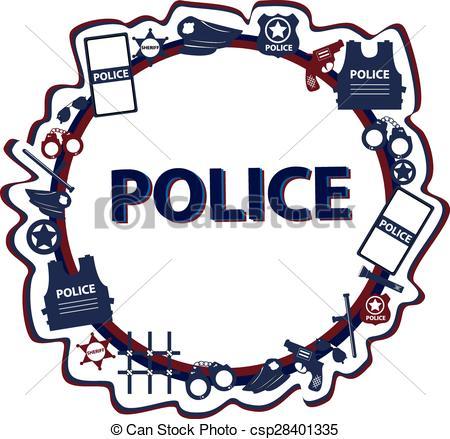 450x439 Vector Design Police Symbols In Round Form With Dark Colors