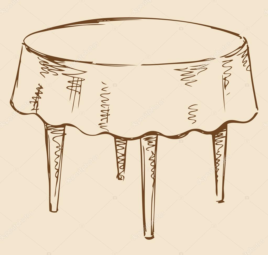 1023x973 Vector Drawing. Round Table With Tablecloth Stock Vector