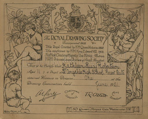 512x414 Certificate Given By The Royal Drawing Society