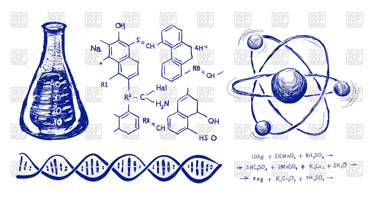 1200x637 Chemistry Hand Drawn Background Royalty Free Vector Clip Art Image