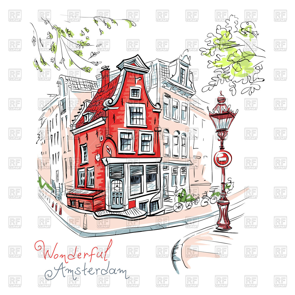 1200x1200 Color Hand Drawing, City View Of Amsterdam, Holland, Netherlands