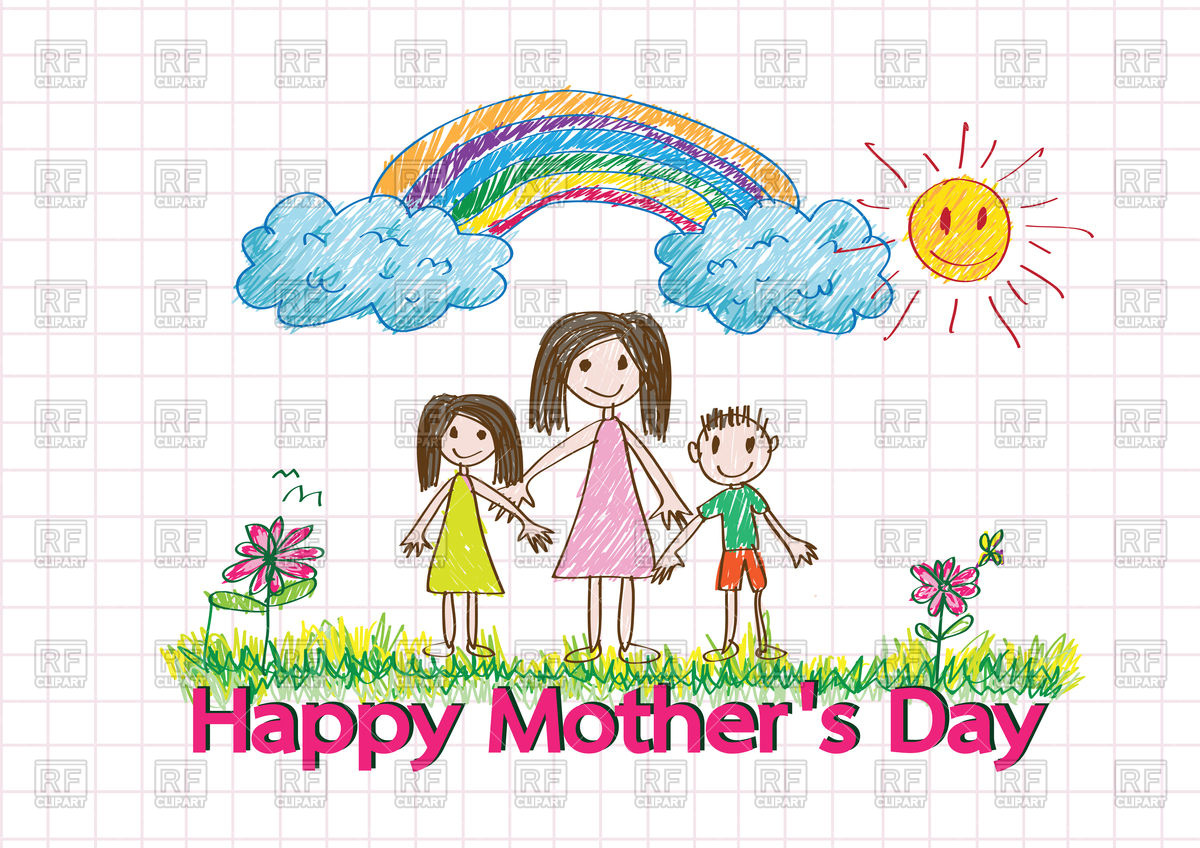 1200x848 Happy Mothers Day Card With Kids Drawing Family Royalty Free