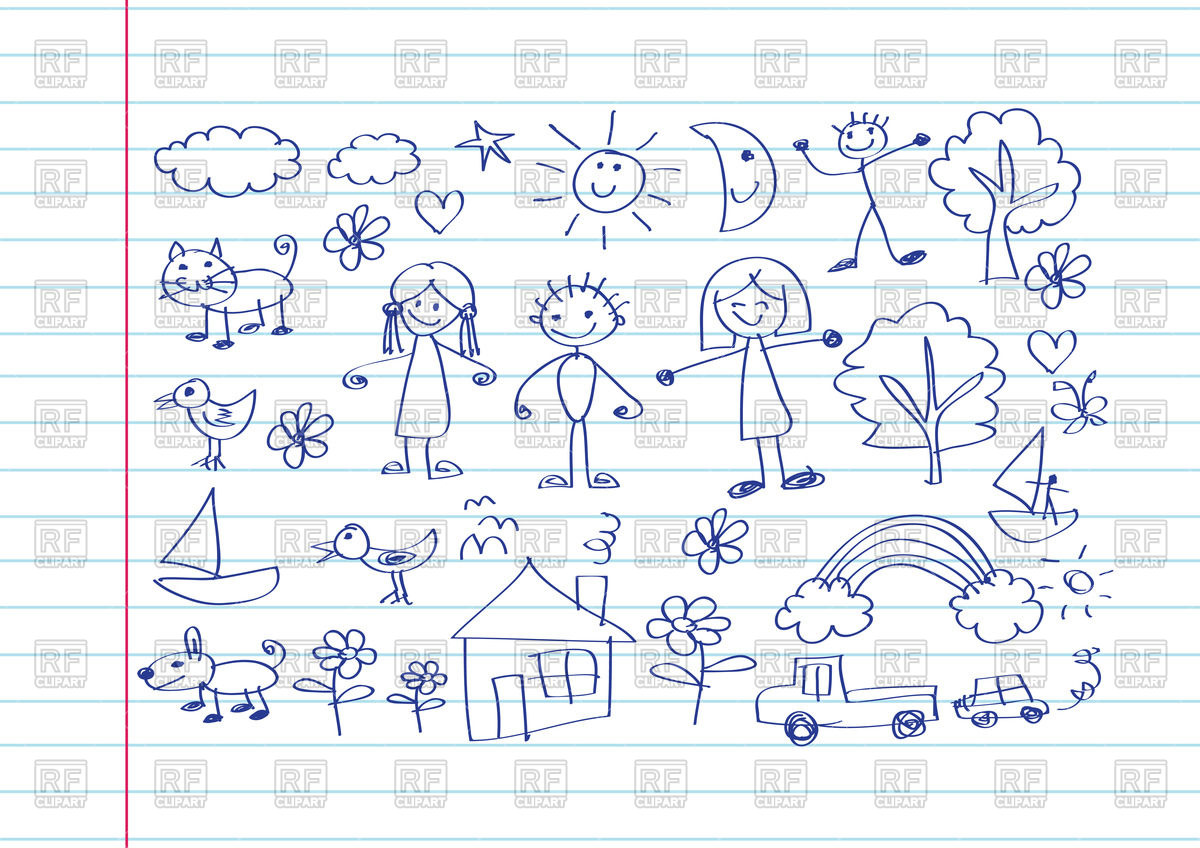 1200x848 Kid's Drawing With Happy Family On Notebook Sheet Background