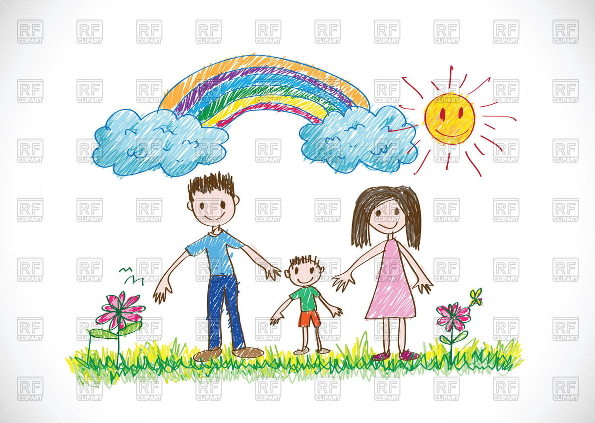 1200x853 Kids Drawing Happy Family Royalty Free Vector Clip Art Image