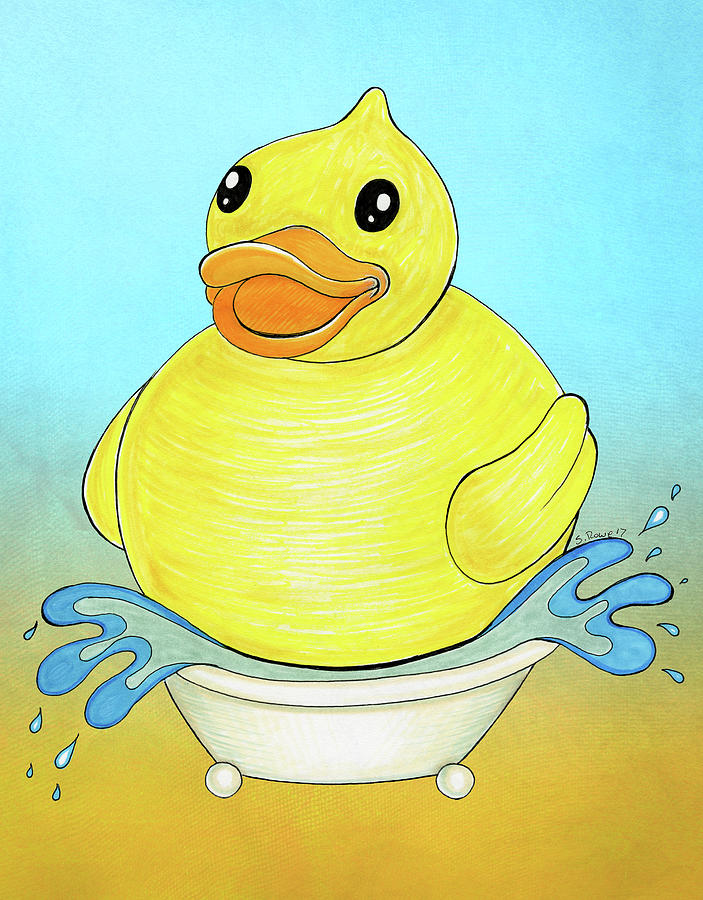703x900 Big Happy Rubber Duck Drawing By Shawna Rowe